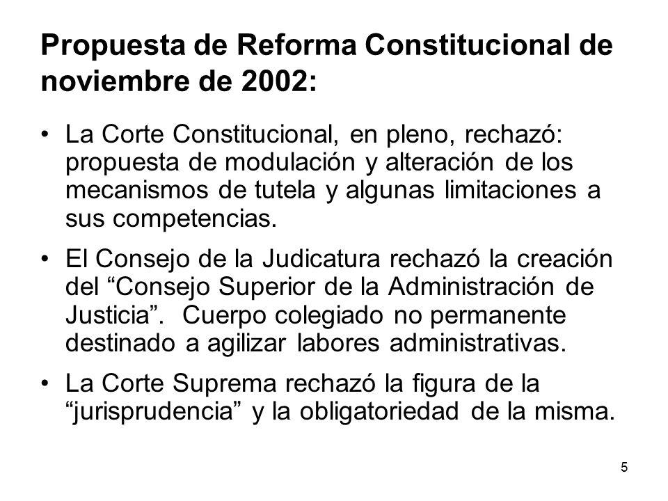 5 Propuesta de Reforma Constitucional de noviembre de 2002: La Corte Constitucional, en pleno, rechazó: propuesta de modulación y alteración de los mecanismos de tutela y algunas limitaciones a sus competencias.
