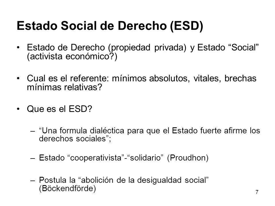 7 Estado Social de Derecho (ESD) Estado de Derecho (propiedad privada) y Estado Social (activista económico?) Cual es el referente: mínimos absolutos, vitales, brechas mínimas relativas.