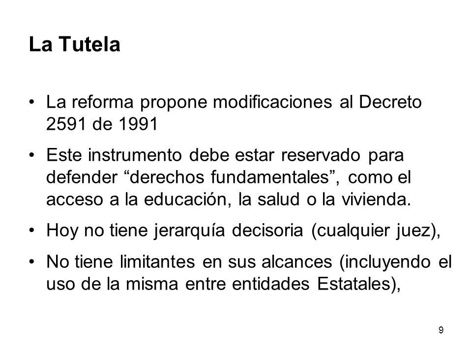 9 La Tutela La reforma propone modificaciones al Decreto 2591 de 1991 Este instrumento debe estar reservado para defender derechos fundamentales, como