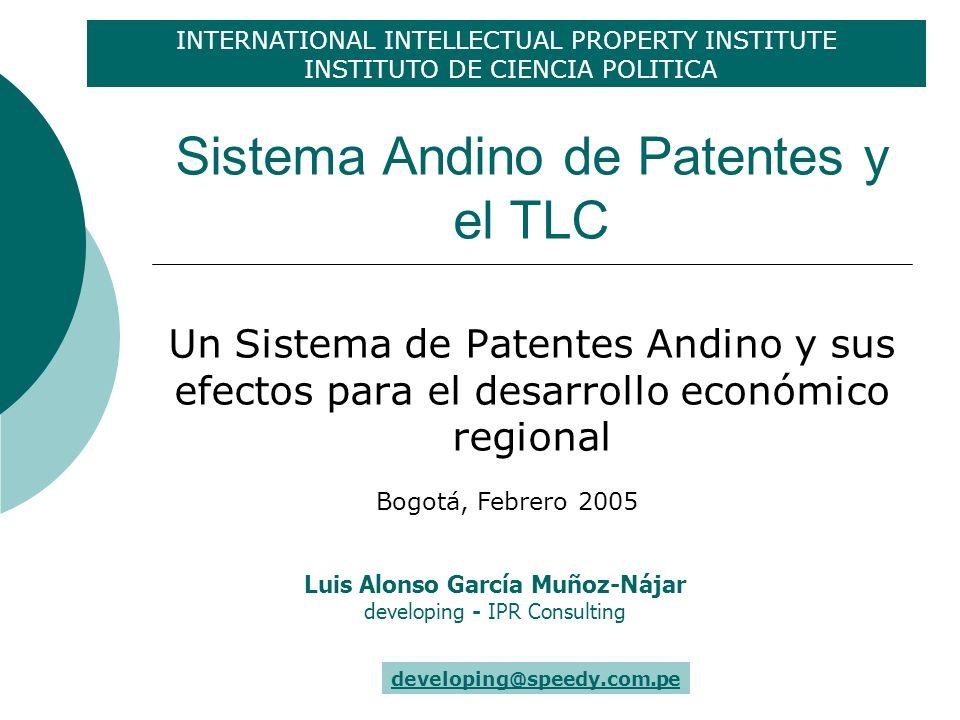 Sistema Andino de Patentes Prioridad – Repensar una visión conjunta Implementación Administrar en forma conjunta obligaciones TLC Agenda conjunta para nuevos temas en PI: ej.