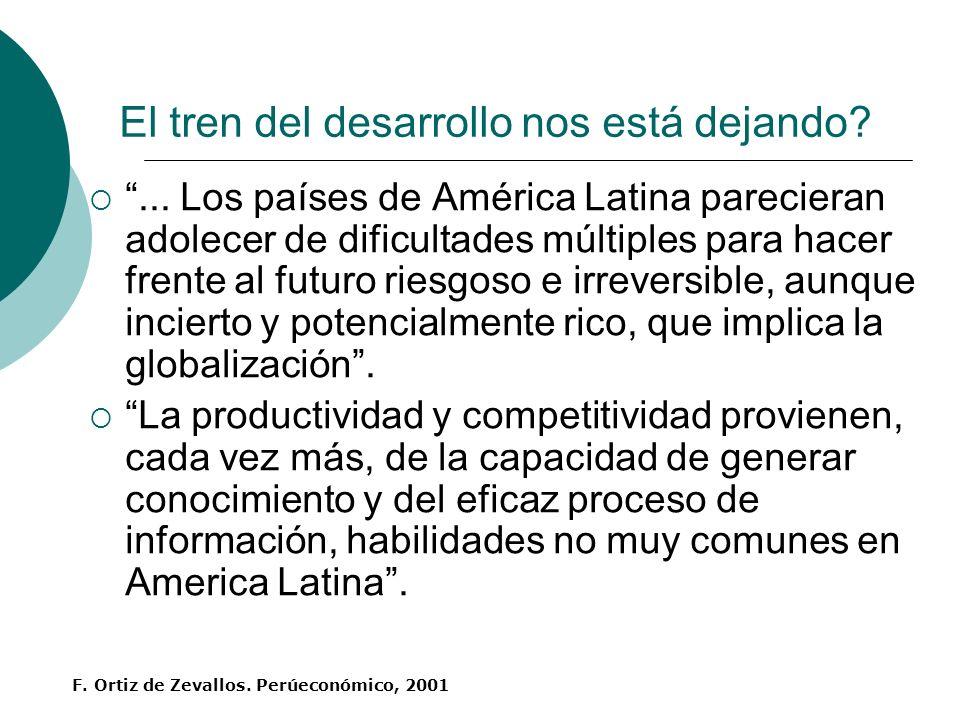 El tren del desarrollo nos está dejando?... Los países de América Latina parecieran adolecer de dificultades múltiples para hacer frente al futuro rie