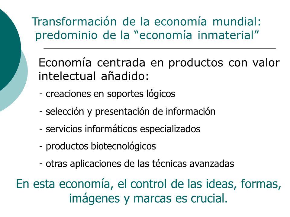 Transformación de la economía mundial: predominio de la economía inmaterial - creaciones en soportes lógicos - selección y presentación de información