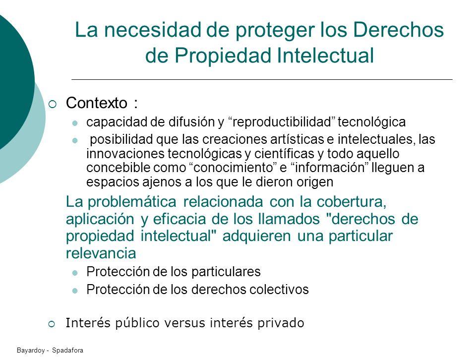La necesidad de proteger los Derechos de Propiedad Intelectual Contexto : capacidad de difusión y reproductibilidad tecnológica posibilidad que las cr