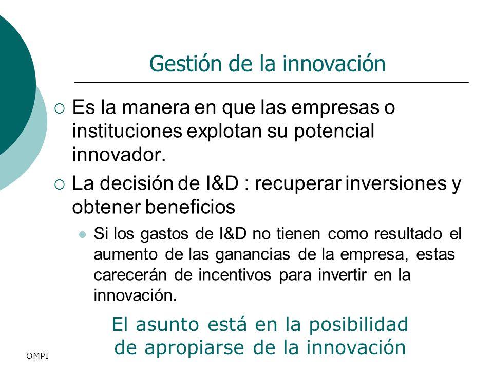 Gestión de la innovación Es la manera en que las empresas o instituciones explotan su potencial innovador. La decisión de I&D : recuperar inversiones
