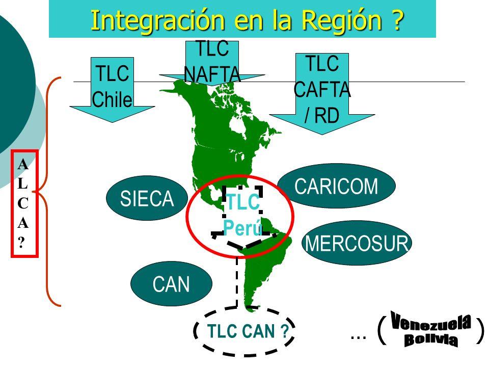 Integración en la Región ? Integración en la Región ? MERCOSUR CAN CARICOM SIECA TLC Chile TLC CAFTA / RD TLC NAFTA TLC Perú TLC CAN ? ALCA?ALCA? … (