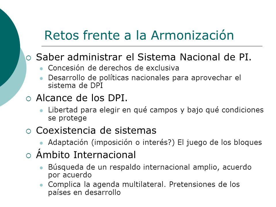 Retos frente a la Armonización Saber administrar el Sistema Nacional de PI. Concesión de derechos de exclusiva Desarrollo de políticas nacionales para