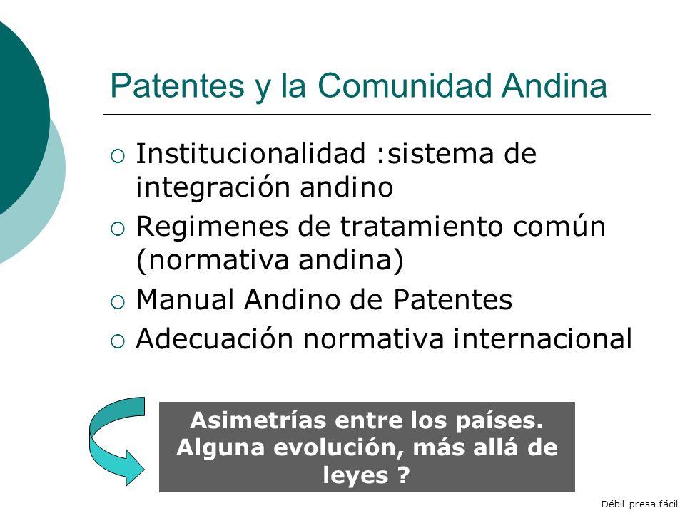 Patentes y la Comunidad Andina Institucionalidad :sistema de integración andino Regimenes de tratamiento común (normativa andina) Manual Andino de Pat