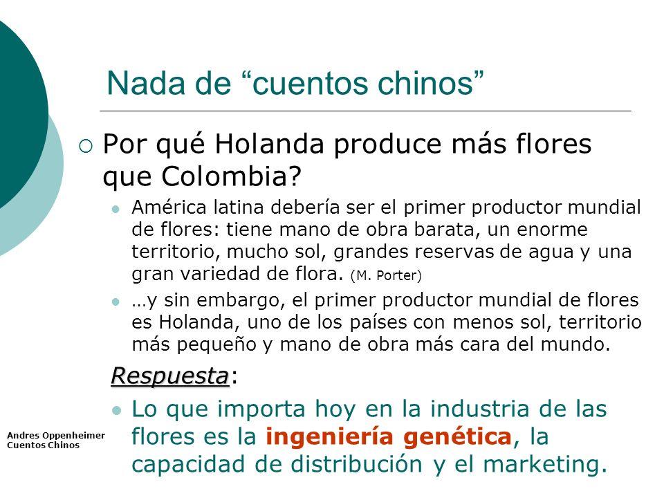 Nada de cuentos chinos Por qué Holanda produce más flores que Colombia? América latina debería ser el primer productor mundial de flores: tiene mano d