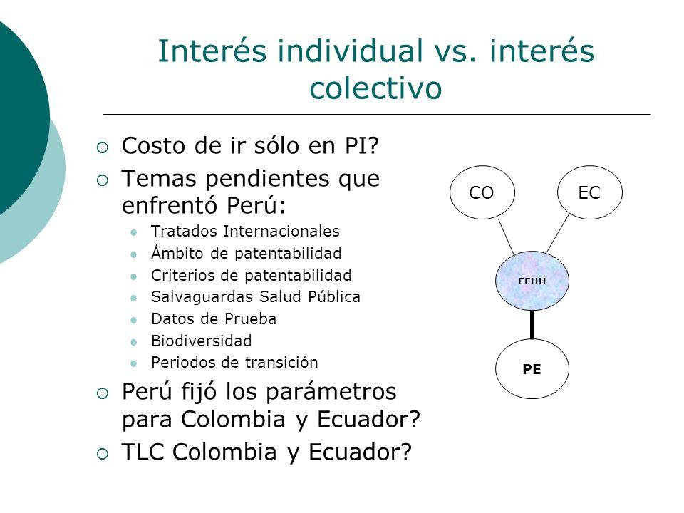 Interés individual vs. interés colectivo Costo de ir sólo en PI? Temas pendientes que enfrentó Perú: Tratados Internacionales Ámbito de patentabilidad