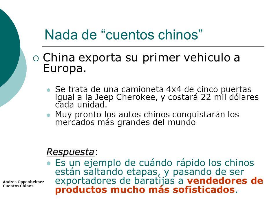 Nada de cuentos chinos China exporta su primer vehiculo a Europa. Se trata de una camioneta 4x4 de cinco puertas igual a la Jeep Cherokee, y costará 2