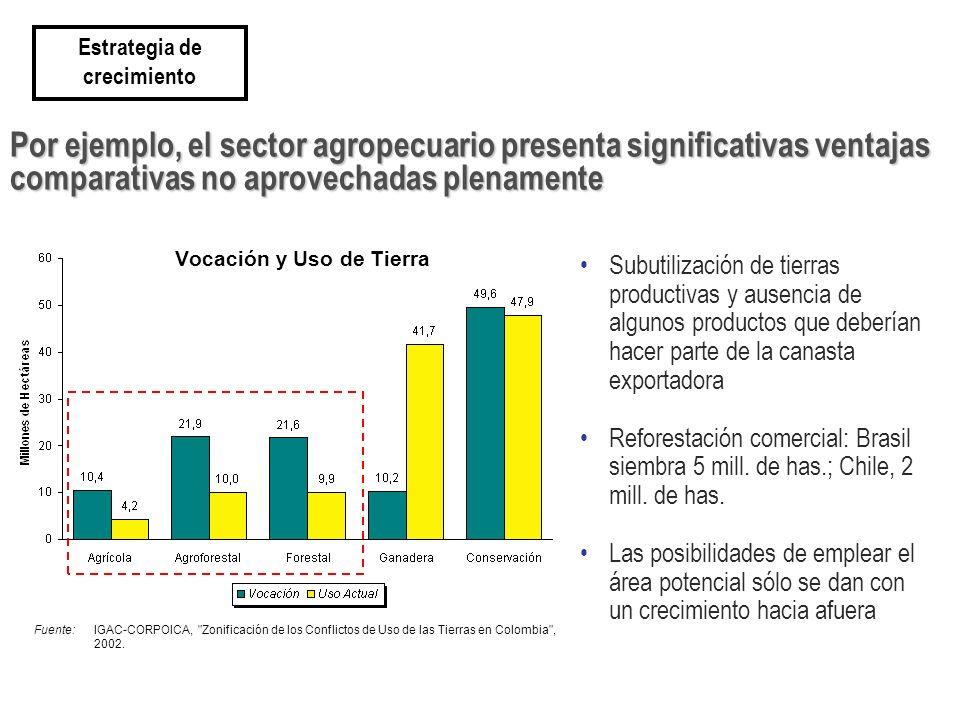 Subutilización de tierras productivas y ausencia de algunos productos que deberían hacer parte de la canasta exportadora Reforestación comercial: Bras
