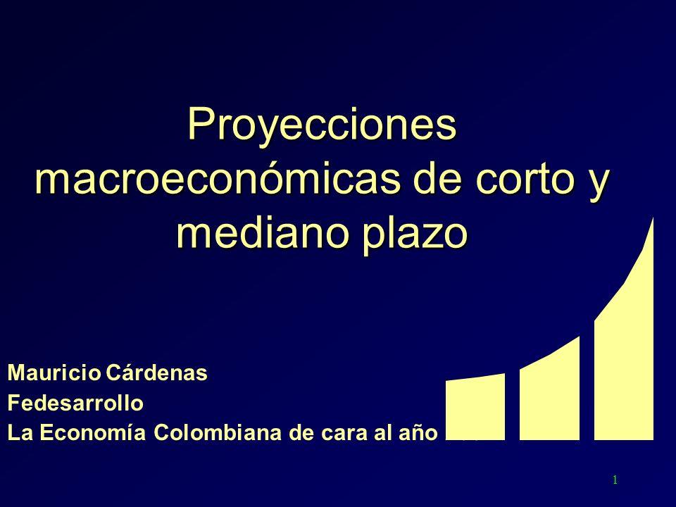1 Proyecciones macroeconómicas de corto y mediano plazo Mauricio Cárdenas Fedesarrollo La Economía Colombiana de cara al año 2004