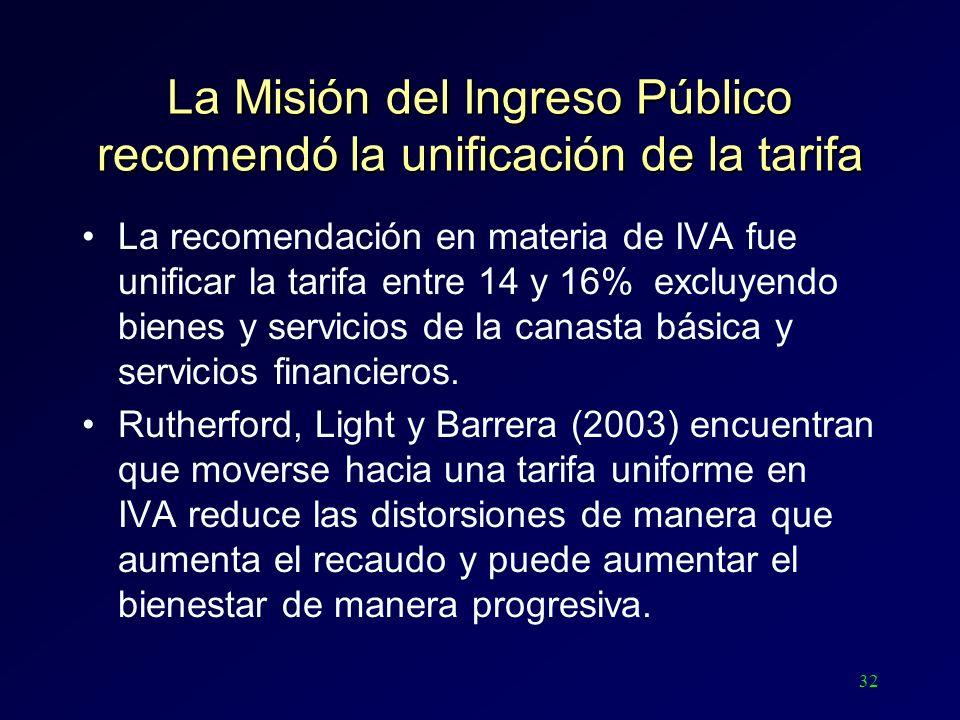 32 La Misión del Ingreso Público recomendó la unificación de la tarifa La recomendación en materia de IVA fue unificar la tarifa entre 14 y 16% excluy