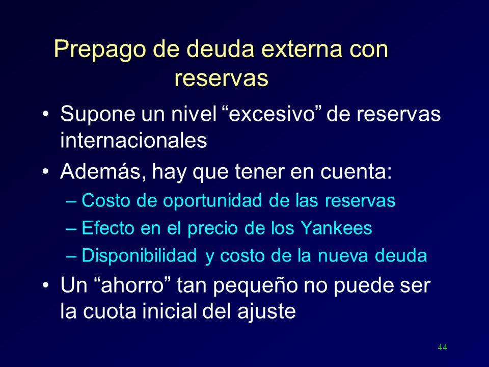 44 Prepago de deuda externa con reservas Supone un nivel excesivo de reservas internacionales Además, hay que tener en cuenta: –Costo de oportunidad d