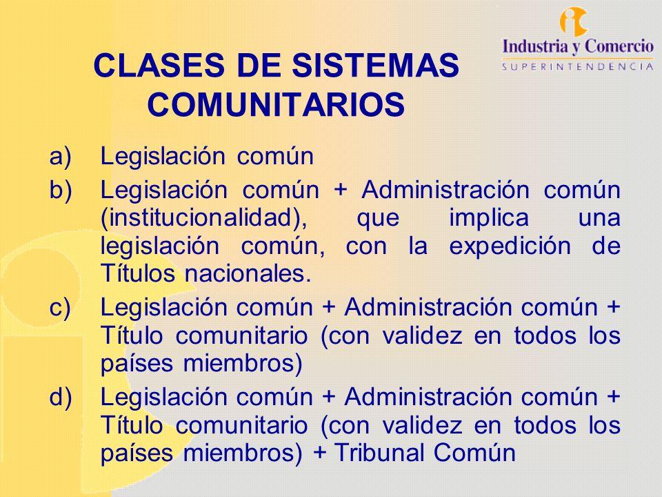 CLASES DE SISTEMAS COMUNITARIOS a)Legislación común b)Legislación común + Administración común (institucionalidad), que implica una legislación común,