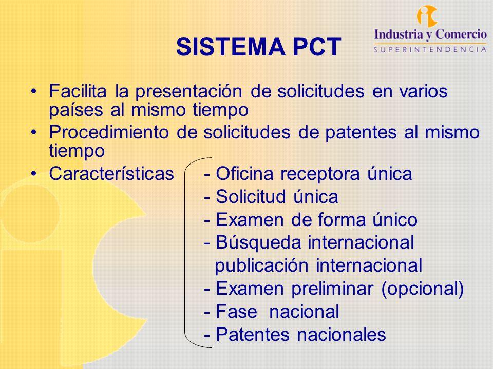 SISTEMA PCT Facilita la presentación de solicitudes en varios países al mismo tiempo Procedimiento de solicitudes de patentes al mismo tiempo Caracter