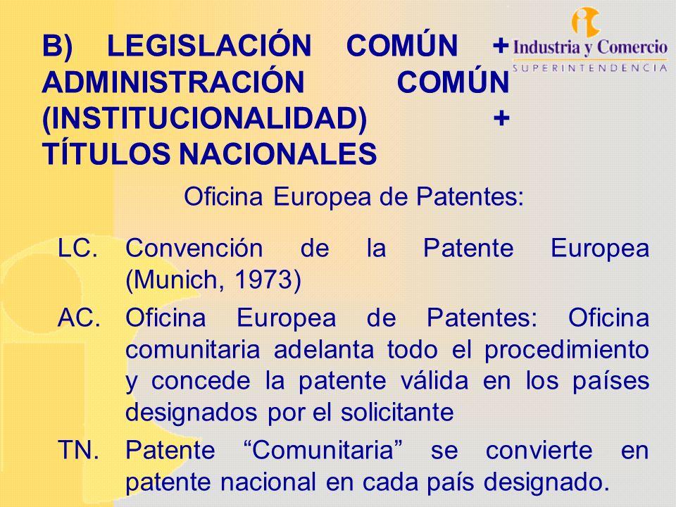 B) LEGISLACIÓN COMÚN + ADMINISTRACIÓN COMÚN (INSTITUCIONALIDAD) + TÍTULOS NACIONALES Oficina Europea de Patentes: LC.Convención de la Patente Europea