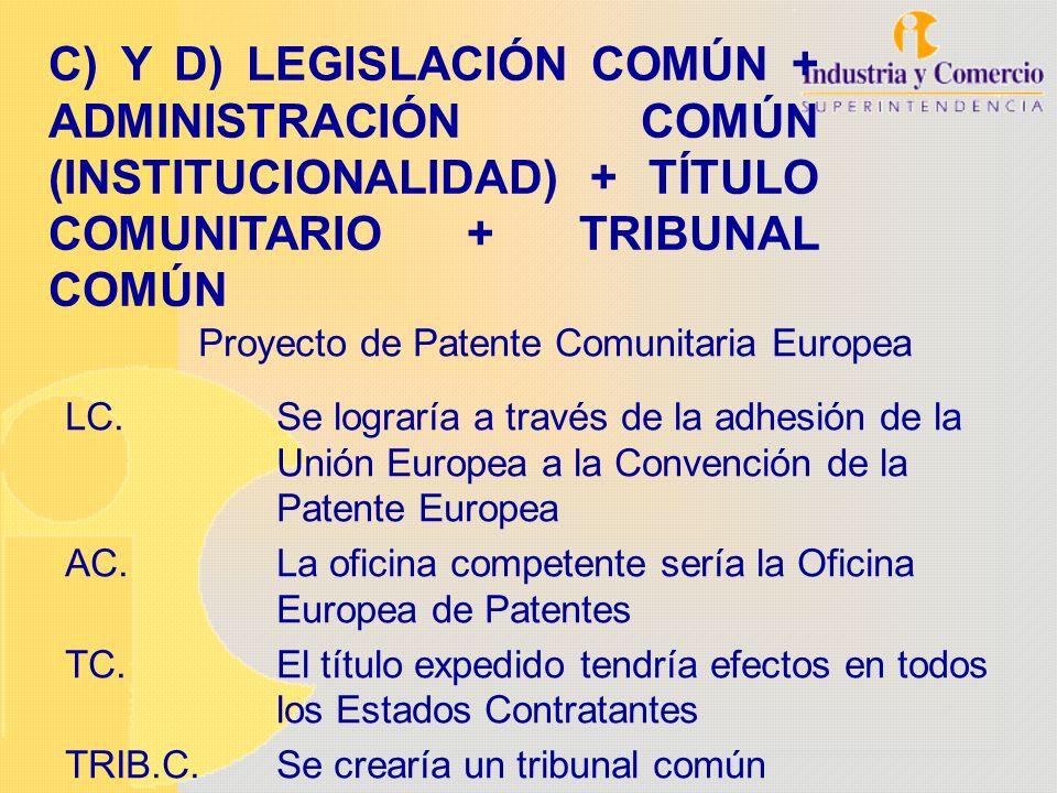 Proyecto de Patente Comunitaria Europea LC.Se lograría a través de la adhesión de la Unión Europea a la Convención de la Patente Europea AC.La oficina