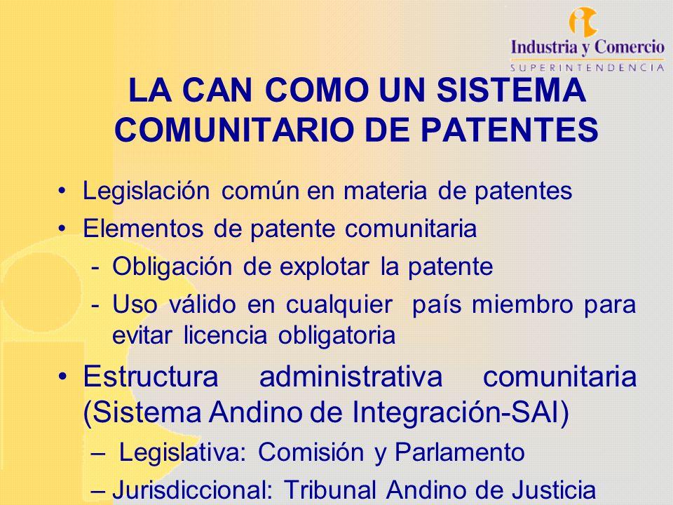 LA CAN COMO UN SISTEMA COMUNITARIO DE PATENTES Legislación común en materia de patentes Elementos de patente comunitaria -Obligación de explotar la pa