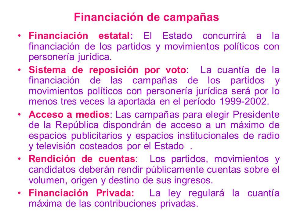 Financiación de campañas Financiación estatal: El Estado concurrirá a la financiación de los partidos y movimientos políticos con personería jurídica.