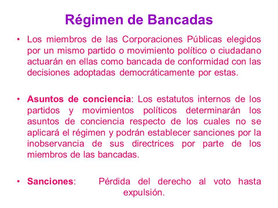 Régimen de Bancadas Los miembros de las Corporaciones Públicas elegidos por un mismo partido o movimiento político o ciudadano actuarán en ellas como