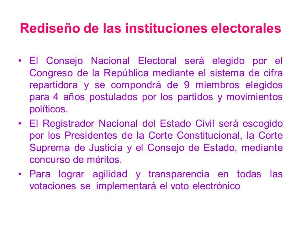 Rediseño de las instituciones electorales El Consejo Nacional Electoral será elegido por el Congreso de la República mediante el sistema de cifra repa