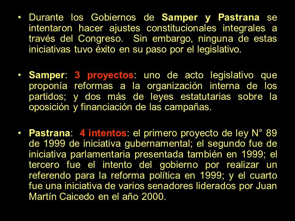 Durante los Gobiernos de Samper y Pastrana se intentaron hacer ajustes constitucionales integrales a través del Congreso. Sin embargo, ninguna de esta