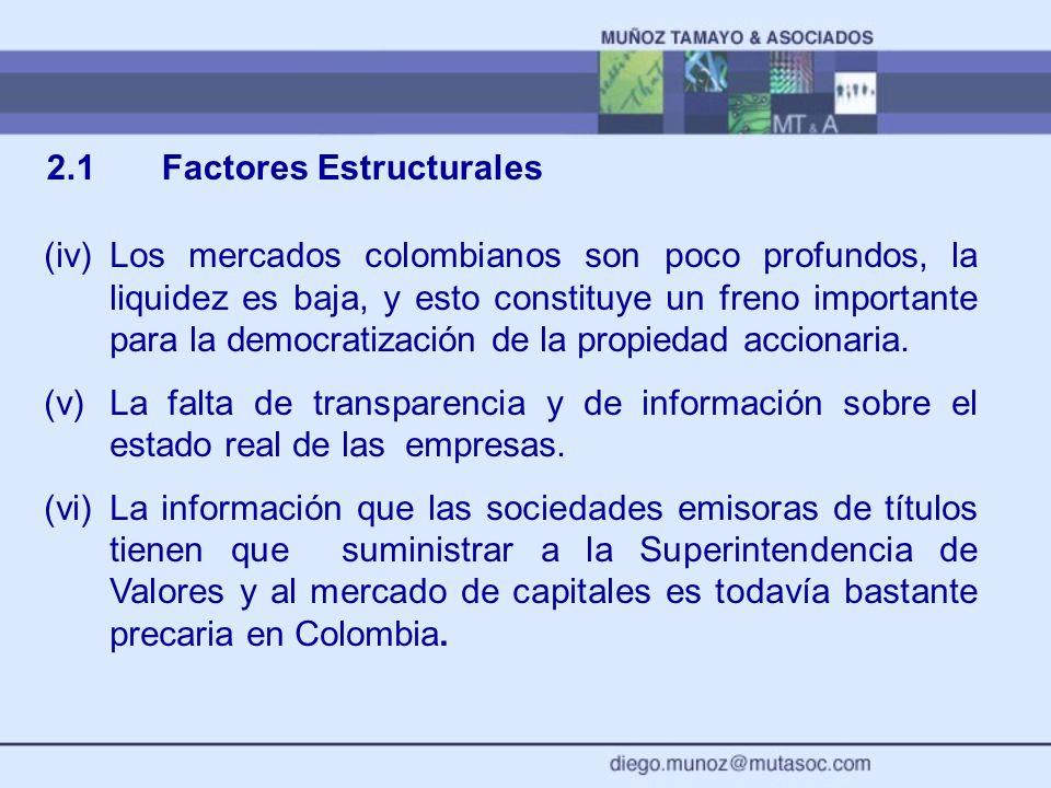 2.1 Factores Estructurales (iv)Los mercados colombianos son poco profundos, la liquidez es baja, y esto constituye un freno importante para la democra