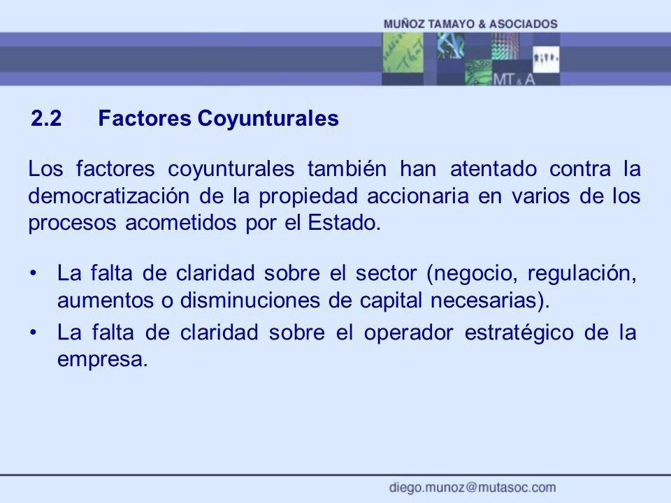 2.2Factores Coyunturales Los factores coyunturales también han atentado contra la democratización de la propiedad accionaria en varios de los procesos