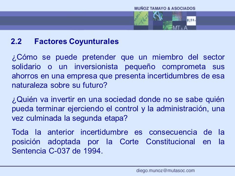 2.2Factores Coyunturales ¿Cómo se puede pretender que un miembro del sector solidario o un inversionista pequeño comprometa sus ahorros en una empresa