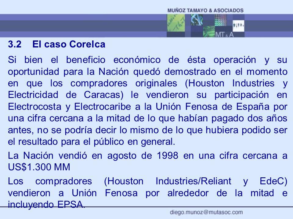 3.2El caso Corelca Si bien el beneficio económico de ésta operación y su oportunidad para la Nación quedó demostrado en el momento en que los comprado