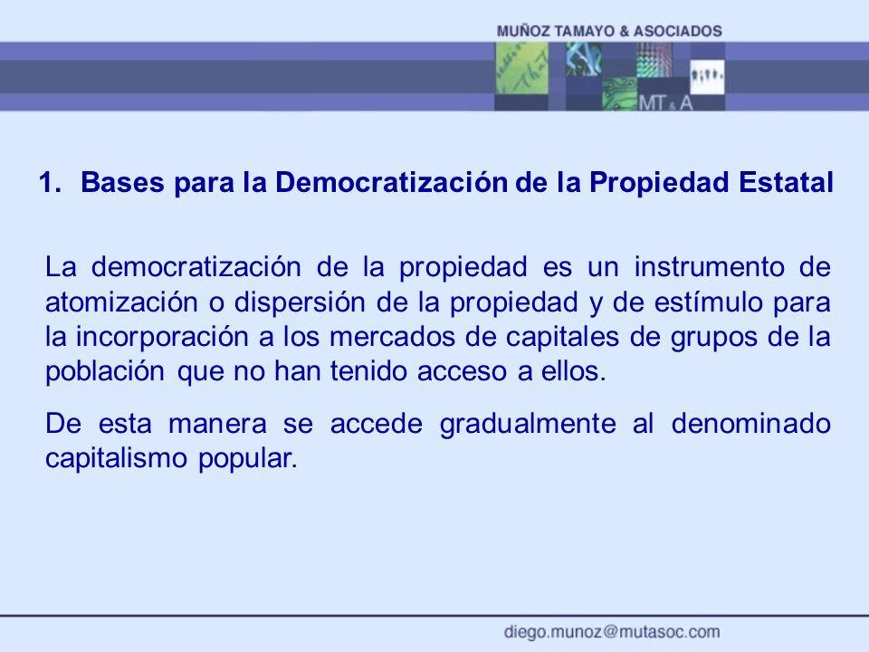 1. Bases para la Democratización de la Propiedad Estatal La democratización de la propiedad es un instrumento de atomización o dispersión de la propie
