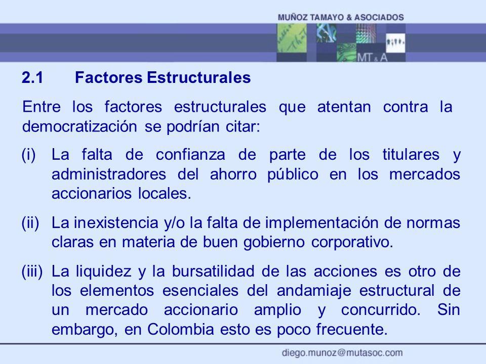 2.1 Factores Estructurales (i)La falta de confianza de parte de los titulares y administradores del ahorro público en los mercados accionarios locales