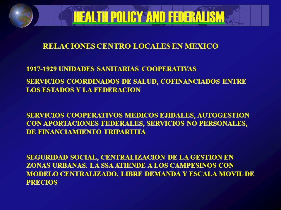 HEALTH POLICY AND FEDERALISM 1917-1929 UNIDADES SANITARIAS COOPERATIVAS SERVICIOS COORDINADOS DE SALUD, COFINANCIADOS ENTRE LOS ESTADOS Y LA FEDERACION SERVICIOS COOPERATIVOS MEDICOS EJIDALES, AUTOGESTION CON APORTACIONES FEDERALES, SERVICIOS NO PERSONALES, DE FINANCIAMIENTO TRIPARTITA SEGURIDAD SOCIAL, CENTRALIZACION DE LA GESTION EN ZONAS URBANAS.
