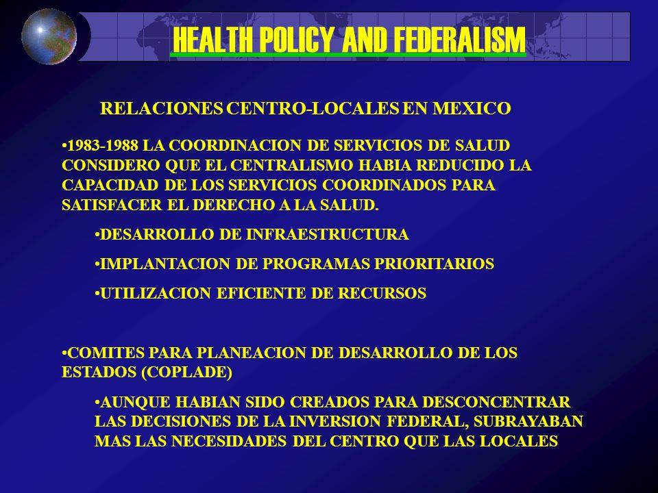 HEALTH POLICY AND FEDERALISM 1950 – MODELOS CENTRALES COMO EL DE LA CNEP. CENTRALIZACION TECNICA Y FRAGMENTACION SANITARISTA; MULTIPLICACION DE MODELO