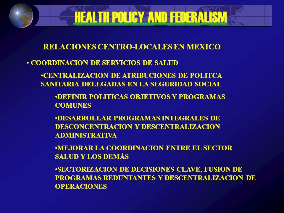 HEALTH POLICY AND FEDERALISM COORDINACION DE SERVICIOS DE SALUD CENTRALIZACION DE ATRIBUCIONES DE POLITCA SANITARIA DELEGADAS EN LA SEGURIDAD SOCIAL DEFINIR POLITICAS OBJETIVOS Y PROGRAMAS COMUNES DESARROLLAR PROGRAMAS INTEGRALES DE DESCONCENTRACION Y DESCENTRALIZACION ADMINISTRATIVA MEJORAR LA COORDINACION ENTRE EL SECTOR SALUD Y LOS DEMÁS SECTORIZACION DE DECISIONES CLAVE, FUSION DE PROGRAMAS REDUNTANTES Y DESCENTRALIZACION DE OPERACIONES RELACIONES CENTRO-LOCALES EN MEXICO