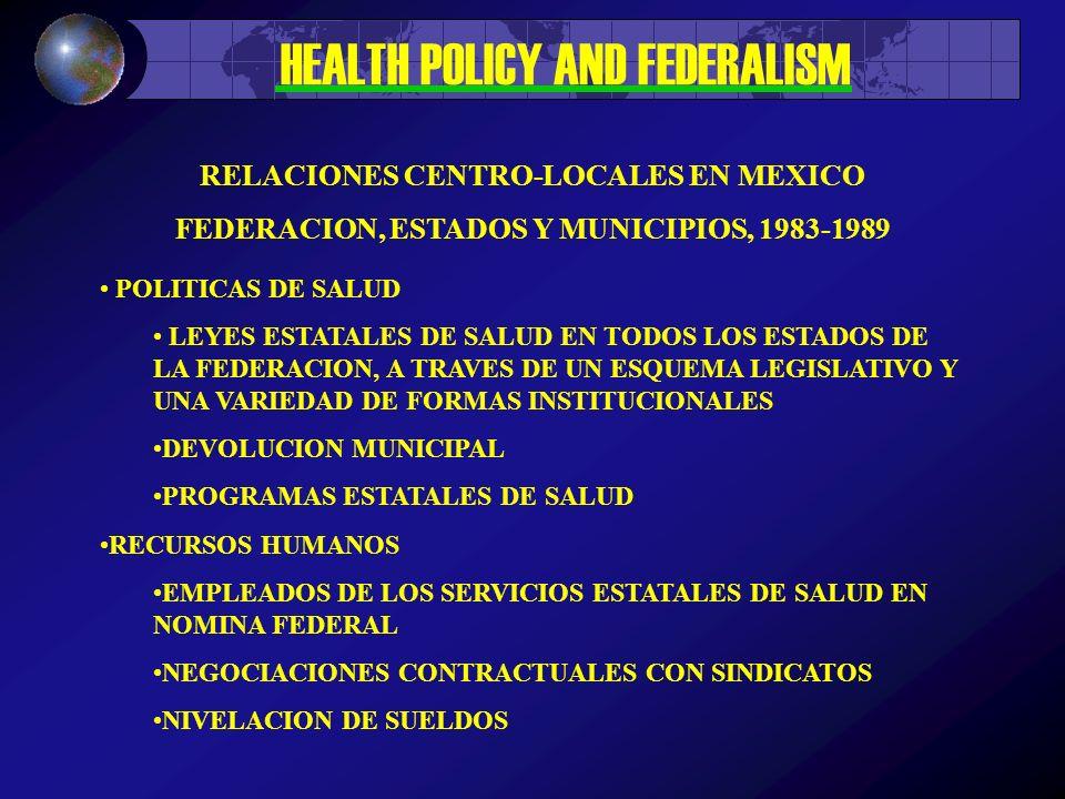 HEALTH POLICY AND FEDERALISM 1989 – ESTRATEGIAS DISEÑAR E IMPLANTAR UN MODELO DE SERVICIOS DE SALUD ESCALONADO Y REGIONALIZADO INTEGRACION DE SERVICIOS DE SALUD DE TIPO ORGANICO O ESTRUCTURAL Y FUNCIONAL O PROGRAMATICO IMPULSAR LA DESCENTRALIZACION EN EL MARCO DEL FEDERALISMO DESARROLLAR UN MECANISMO PARTICIPATIVO PARA ASIGNAR RECURSOS A PROGRAMAS DE DESARROLLO ECONOMICO Y SOCIAL PARTICIPACION COMUNITARIA EN LA ADMINISTRACION DE SERVICIOS DE SALUD Y AUTOCUIDADO DE SALUD DESARROLLO DE CENTROS NACIONALES DE INVESTIGACION RELACIONES CENTRO-LOCALES EN MEXICO