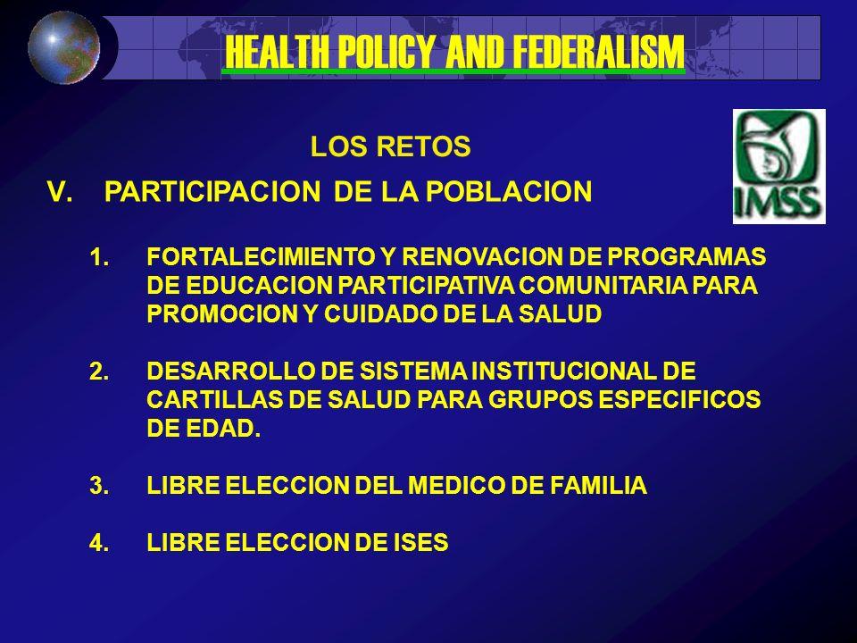 V.PARTICIPACION DE LA POBLACION 1.FORTALECIMIENTO Y RENOVACION DE PROGRAMAS DE EDUCACION PARTICIPATIVA COMUNITARIA PARA PROMOCION Y CUIDADO DE LA SALUD 2.DESARROLLO DE SISTEMA INSTITUCIONAL DE CARTILLAS DE SALUD PARA GRUPOS ESPECIFICOS DE EDAD.