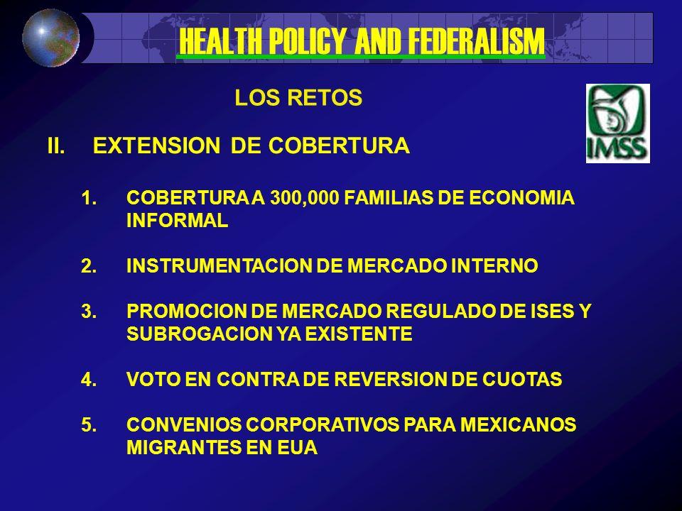 II.EXTENSION DE COBERTURA 1.COBERTURA A 300,000 FAMILIAS DE ECONOMIA INFORMAL 2.INSTRUMENTACION DE MERCADO INTERNO 3.PROMOCION DE MERCADO REGULADO DE ISES Y SUBROGACION YA EXISTENTE 4.VOTO EN CONTRA DE REVERSION DE CUOTAS 5.CONVENIOS CORPORATIVOS PARA MEXICANOS MIGRANTES EN EUA LOS RETOS HEALTH POLICY AND FEDERALISM