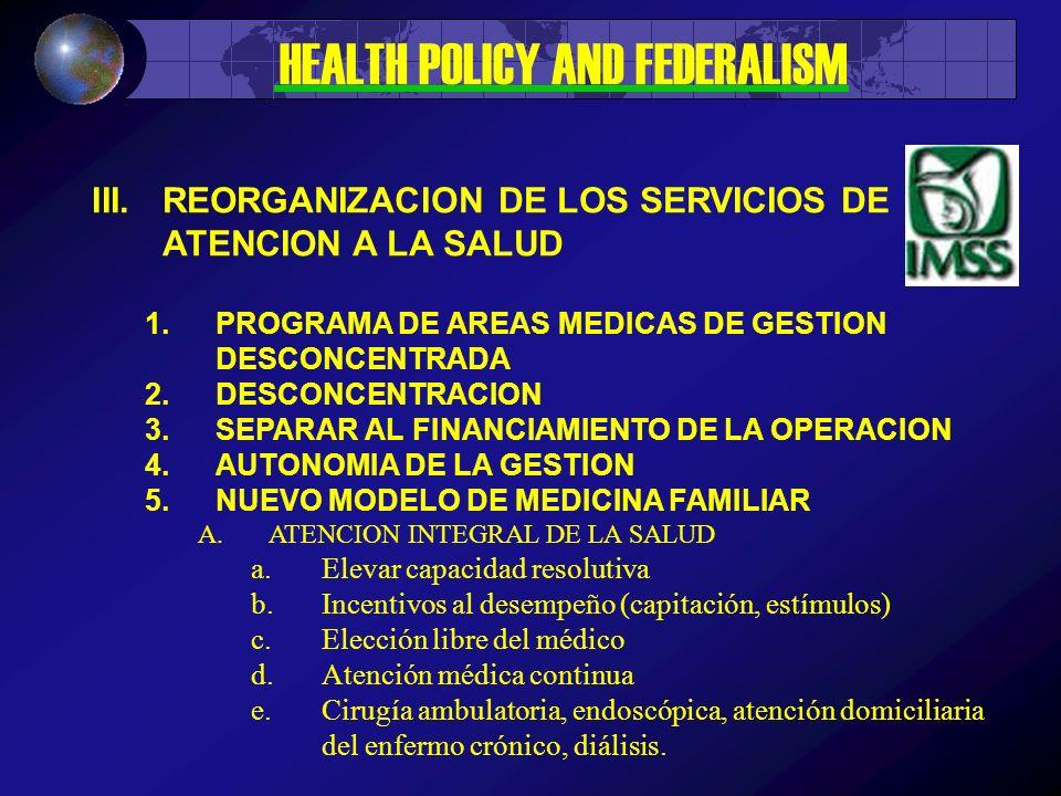 III.REORGANIZACION DE LOS SERVICIOS DE ATENCION A LA SALUD 1.PROGRAMA DE AREAS MEDICAS DE GESTION DESCONCENTRADA 2.DESCONCENTRACION 3.SEPARAR AL FINANCIAMIENTO DE LA OPERACION 4.AUTONOMIA DE LA GESTION 5.NUEVO MODELO DE MEDICINA FAMILIAR A.ATENCION INTEGRAL DE LA SALUD a.Elevar capacidad resolutiva b.Incentivos al desempeño (capitación, estímulos) c.Elección libre del médico d.Atención médica continua e.Cirugía ambulatoria, endoscópica, atención domiciliaria del enfermo crónico, diálisis.