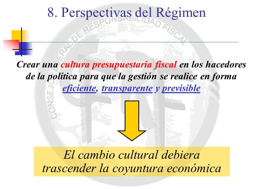 Crear una cultura presupuestaria fiscal en los hacedores de la política para que la gestión se realice en forma eficiente, transparente y previsible El cambio cultural debiera trascender la coyuntura económica 8.