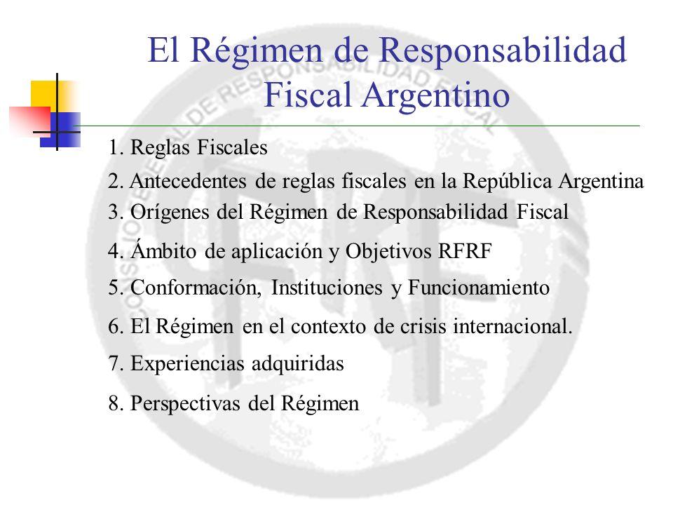 El Régimen de Responsabilidad Fiscal Argentino 1. Reglas Fiscales 2.