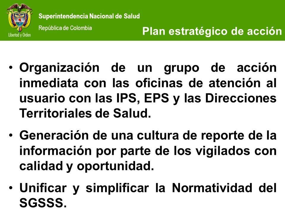 Superintendencia Nacional de Salud República de Colombia Organización de un grupo de acción inmediata con las oficinas de atención al usuario con las