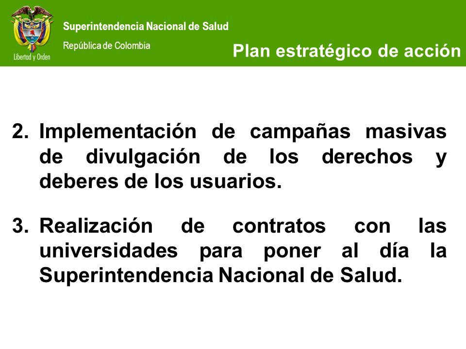 Superintendencia Nacional de Salud República de Colombia SITUACIÓN ACTUAL 2.Implementación de campañas masivas de divulgación de los derechos y debere