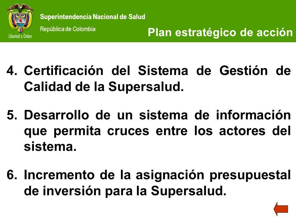Superintendencia Nacional de Salud República de Colombia 4.Certificación del Sistema de Gestión de Calidad de la Supersalud. 5.Desarrollo de un sistem