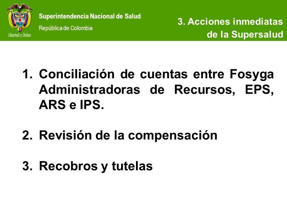 Superintendencia Nacional de Salud República de Colombia 3. Acciones inmediatas de la Supersalud 1.Conciliación de cuentas entre Fosyga Administradora