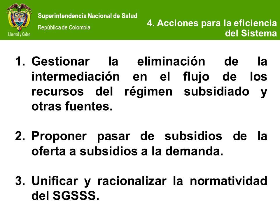 Superintendencia Nacional de Salud República de Colombia 4. Acciones para la eficiencia del Sistema 1.Gestionar la eliminación de la intermediación en