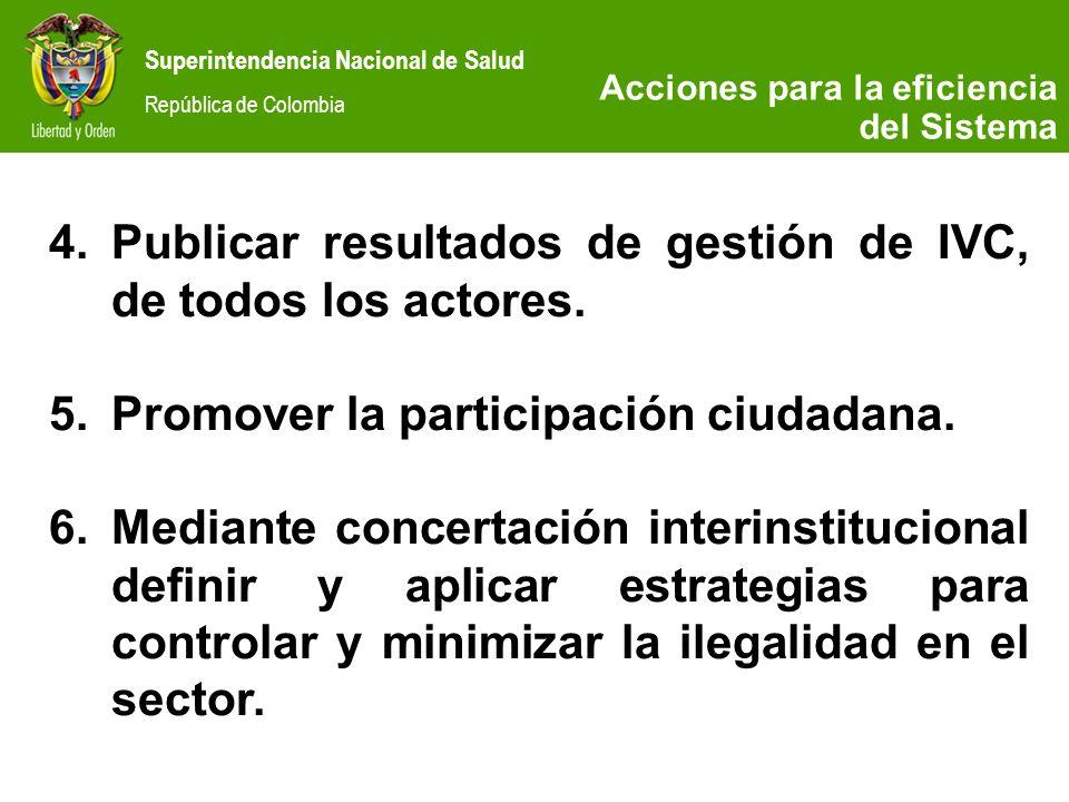 Superintendencia Nacional de Salud República de Colombia 4.Publicar resultados de gestión de IVC, de todos los actores. 5.Promover la participación ci