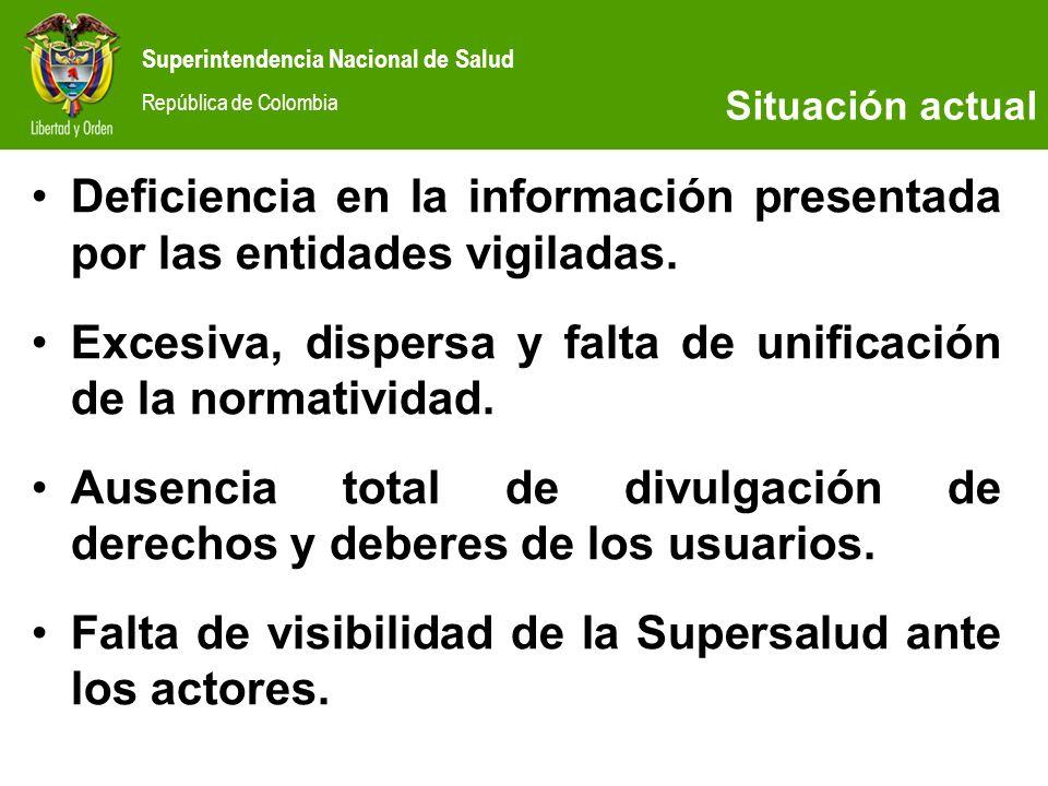 Superintendencia Nacional de Salud República de Colombia Deficiencia en la información presentada por las entidades vigiladas. Excesiva, dispersa y fa