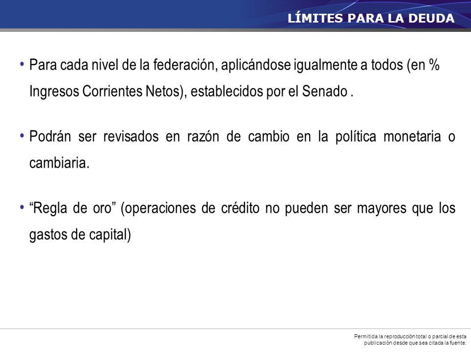 Para cada nivel de la federación, aplicándose igualmente a todos (en % Ingresos Corrientes Netos), establecidos por el Senado.